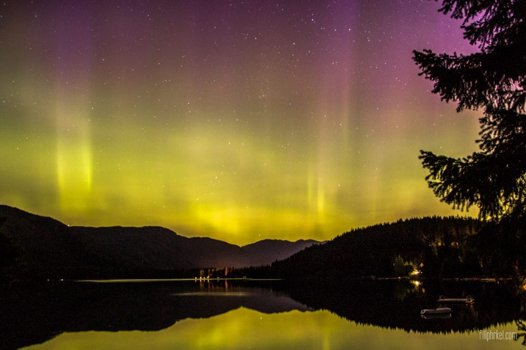 Aurora Borealis - Northern Lights in Whistler over Alta Lake, British Columbia, Canada