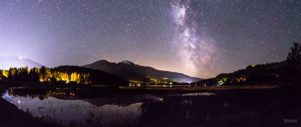 Milky way over Alta lake in Whistler, British Columbia, Canada